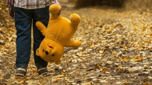 child holding teddy bear while walking