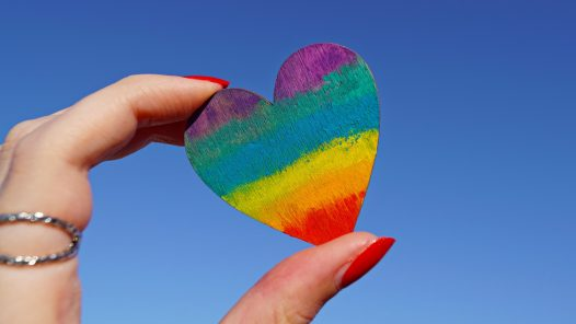 Hand holder rainbow heart
