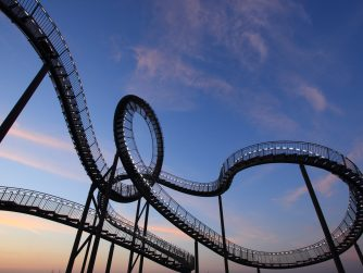 Rollercoaster sunset sky with clouds