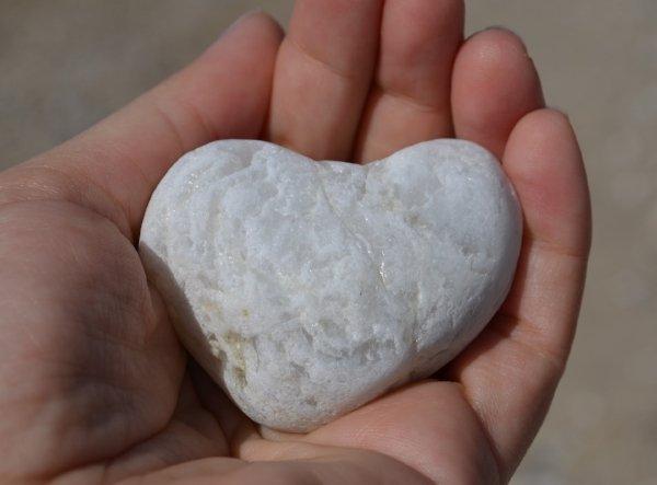 heart shaped rock in hand
