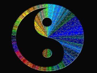 Yin Yang symbol with multi colors puzzle pieces