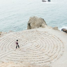 labyrinth overlooking ocean